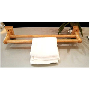 24-inch Double Rack Wooden Towel Bar Bathroom Accessory
