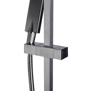 Brushed Nickel Sliding Rail Hand Held Shower Head Set with Hose