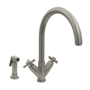 Luxe+ Brushed Nickel-PVD 10.25-Inch Dual Handle Faucet w/Gooseneck Swivel Spout, 'V' Cross Style Handles & Solid Brass