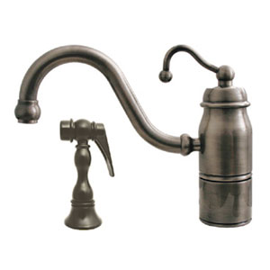 Beluga Kitchen Polished Chrome 9-Inch Single Handle Faucet w/Traditional Curved Swivel Spout, Curved Handle & Solid Brass
