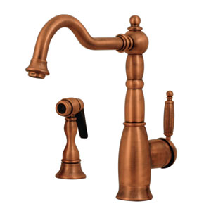 Essexhaus Antique Copper 9-Inch Single Lever Handle Faucet w/Traditional Swivel Spout & A Solid Brass Side Spray