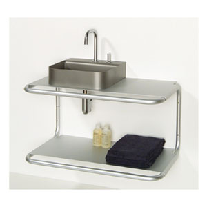 Aeri Aluminum Double Shelf Wall Mount w/Integral Towel Bar