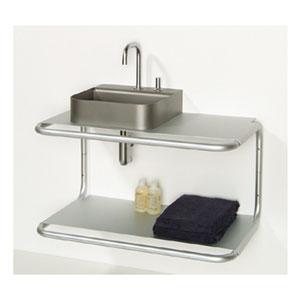 Aeri Aluminum Double Shelf Wall Mount w/Integral Towel Bar