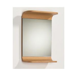 Aeri Natural Small Rectangular Mirror w/Integral Wood Shelf