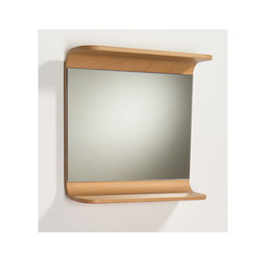 Aeri Natural 21.75-Inch Rectangular Mirror w/Integral Wood Shelf