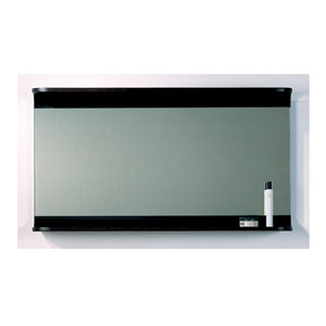 Aeri Ebony Large Rectangular Mirror With Integral Wood Shelf