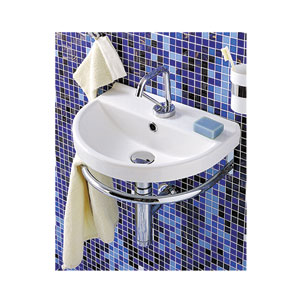 China Series White Small U-Shaped Wall Mount Basin w/Chrome Overflow & Rear Center Drain