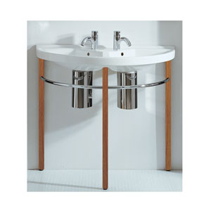 China Series White/Natural Wood Large U-Shaped Double Basin w/Leg Supports, Polished Chrome Towel Rails & Overflow