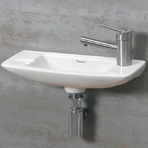 Isabella White 17.5-Inch Small Wall Mount Basin w/Center Drain