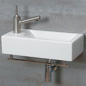 Isabella White Wall Mount Basin w/Chrome Towel Bar & Center Drain
