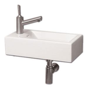 Isabella White Wall Mount Basin w/Center Drain