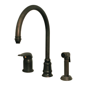 Evolution Polished Chrome 9.5-Inch Three Hole Faucet w/Independent Single Lever Mixer, Gooseneck Swivel Spout, Fluted Solid Brass Side Spray