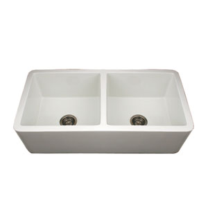 Fireclay Farmhaus White 36.75-Inch Duet Reversible Double Bowl Fireclay Sink w/Smooth Front Apron