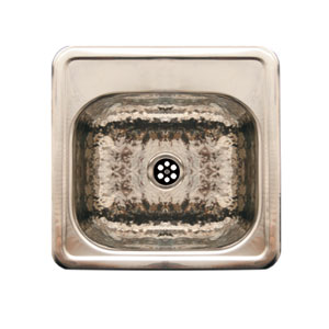 Hammered Stainless Steel 15-Inch Square Drop-In Entertainment/Prep Sink w/Hammered Texture Bowl & Mirrored Ledge