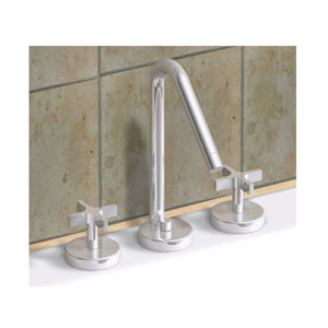 Metrohaus Polished Chrome Lavatory Widespread w/45-Degree Swivel Spout and Pop-Up Waste w/Cross Handles