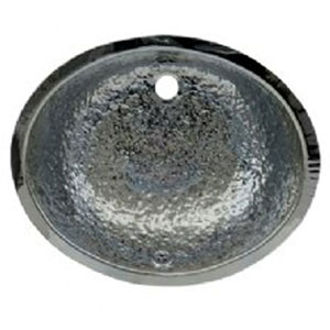 Polished Stainless Steel 18.5-Inch Oval Hammered Textured Undermount Basin w/Overflow