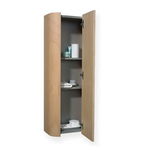 Aeri Natural 15-Inch Vertical Wall Mount Storage Unit w/Four Shelves