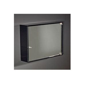 Aeri Smoked Gray Glass 15.75-Inch Wall Mount Storage Unit w/Three Shelves & Mirror Door