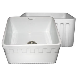 Fireclay Farmhaus White 20-Inch Reversible Series Fireclay Sink w/Athinahaus Front Apron One Side & Fluted Front Apron On Opposite Side