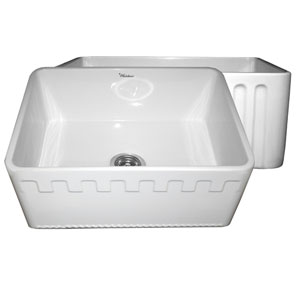 Fireclay Farmhaus White 24-Inch Reversible Series Fireclay Sink w/Athinahaus Front Apron One Side & Fluted Front Apron On Opposite Side