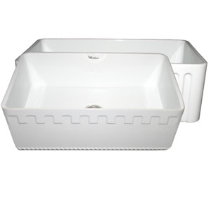 Fireclay Farmhaus White 30-Inch Reversible Series Fireclay Sink w/Athinahaus Front Apron One Side & Fluted Front Apron On Opposite Side
