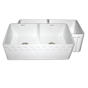 Fireclay Farmhaus White 33-Inch Reversible Series Double Bowl Fireclay Sink w/Athinahaus Front Apron One Side & Fluted Front Apron On Other