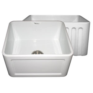 Fireclay Farmhaus White 20-Inch Reversible Series Sink w/Concave Front Apron One Side & Fluted Front Apron On Other
