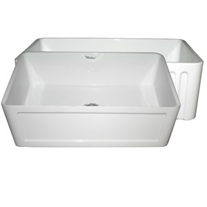 Fireclay Farmhaus White 30-Inch Reversible Series Fireclay Sink w/Concave Front Apron One Side & Fluted Front Apron On