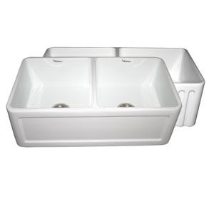Fireclay Farmhaus Black 33-Inch Reversible Series Double Bowl Fireclay Sink w/Concave Front Apron One Side and Fluted Front