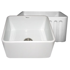 Fireclay Farmhaus White 20-Inch Reversible Series Fireclay Sink w/Smooth Front Apron One Side & Fluted Front Apron On Opposite Side
