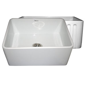Fireclay Farmhaus White 24-Inch Reversible Series Fireclay Sink w/Smooth Front Apron One Side & Fluted Front Apron On Opposite Side