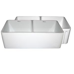 Fireclay Farmhaus White 33-Inch Reversible Series Fireclay Sink w/Smooth Front Apron One Side & Fluted Front Apron On Opposite Side