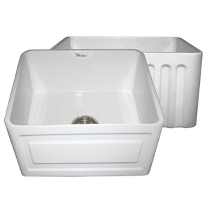Fireclay Farmhaus White 20-Inch Reversible Series Fireclay Sink w/Raised Panel Front Apron On One Side & Fluted Front Apron On Other