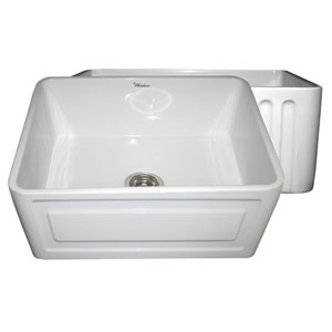 Fireclay Farmhaus White 24-Inch Reversible Series Fireclay Sink w/Raised Panel Front Apron On One Side & Fluted Front Apron