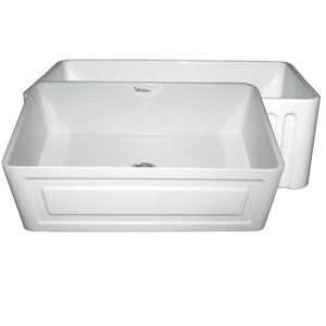 Fireclay Farmhaus White 30-Inch Reversible Series Fireclay Sink w/Raised Panel Front Apron On One Side & Fluted Front Apron On Other