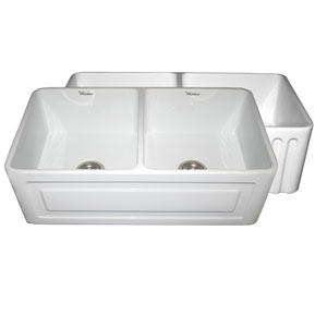 Fireclay Farmhaus White 33-Inch Reversible Series Fireclay Sink w/Raised Panel Front Apron On One Side & Fluted Front Apron On Other