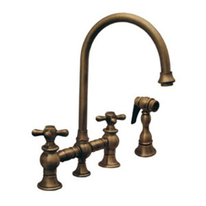 Vintage III Antique Brass 8.13-Inch Bridge Faucet w/Long Gooseneck Swivel Spout, Cross Handles & Solid Brass Side Spray