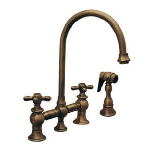 Vintage III Antique Brass 8.13-Inch Bridge Faucet w/Long Gooseneck Swivel Spout, Cross Handles & Solid Brass Side Spray