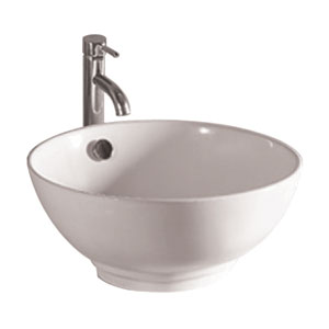 Isabella White 16-Inch Round Above Mount Basin w/Overflow & Center Drain