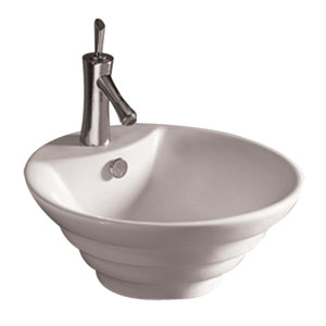 Isabella White 18-Inch Round Stepped Above Mount Basin w/Overflow, Single Faucet Hole & Center Drain