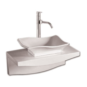 Isabella White 20-Inch Rectangular Above Mount Basin w/Drain & Matching Wall Mount Counter Top