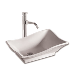 Isabella White 20-Inch Rectangular Above Mount Basin w/Offset Center Drain