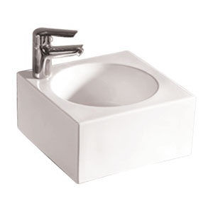 Isabella White Square Wall Mount Basin w/Integrated Round Bowl, Single Faucet Hole & Center Drain