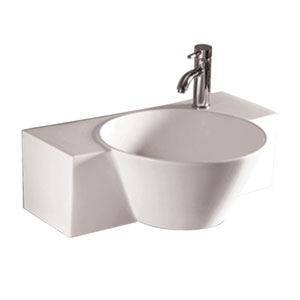 Isabella White Rectangular Wall Mount Basin w/Integrated Round Bowl, Single Faucet Hole & Center Drain