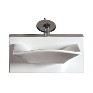 Isabella White Rectangular Wall Mount Basin w/Integrated Rectangular Bowl, Single Faucet Hole & Rear Center Drain
