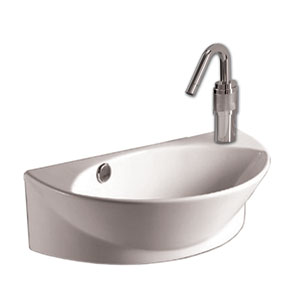 Isabella White Half-Oval Wall Mount Basin w/Integrated Oval Bowl, Overflow, Right Offset Single Faucet Hole & Center Drain
