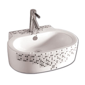 Isabella White 23.63-Inch Decorative Oval Wall Mount Basin w/Overflow, Single Faucet Hole & Center Drain
