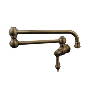 Vintage III Antique Brass 22-Inch Wall Mount Pot Filler w/Lever Handle