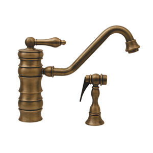 Vintage III Antique Brass 9.5-Inch Single Lever Faucet w/Traditional Swivel Spout & Solid Brass Side Spray