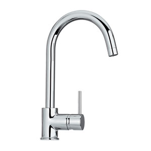 Luxe Polished Chrome 7-Inch Single Hole/Single Lever Faucet w/Gooseneck Swivel Spout